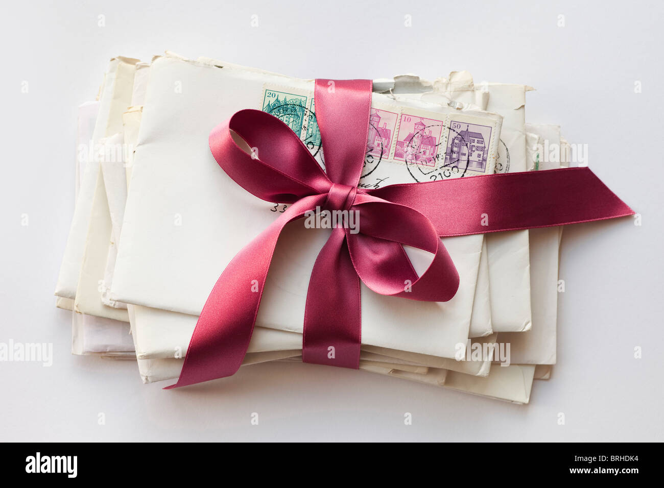 Stack of Letters Tied With Ribbon Stock Photo