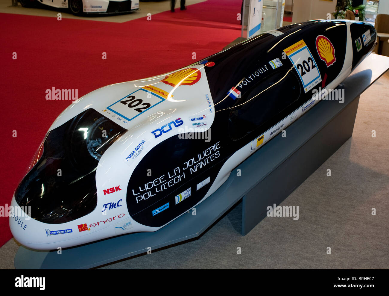 Paris, France, Paris Car Show, Minimum Gas Consumption Concept Car, Polyjoule, World Record, Polytech University, Stock Photo