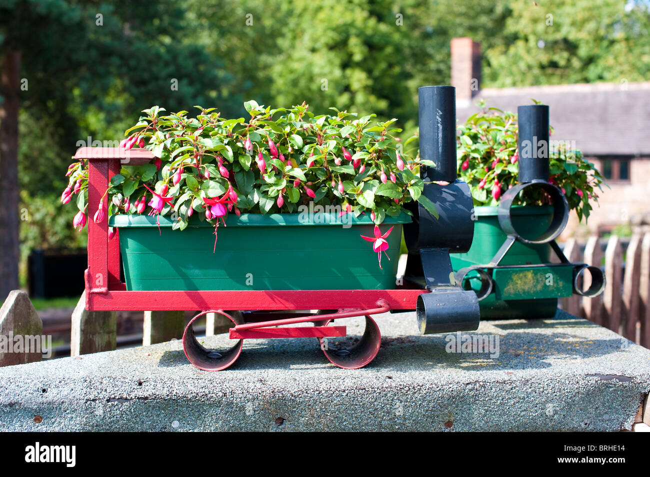 Flower baskets at Hampton Loade station near Bridgnorth, Shropshire, on the Severn Valley Railway - Stock Image