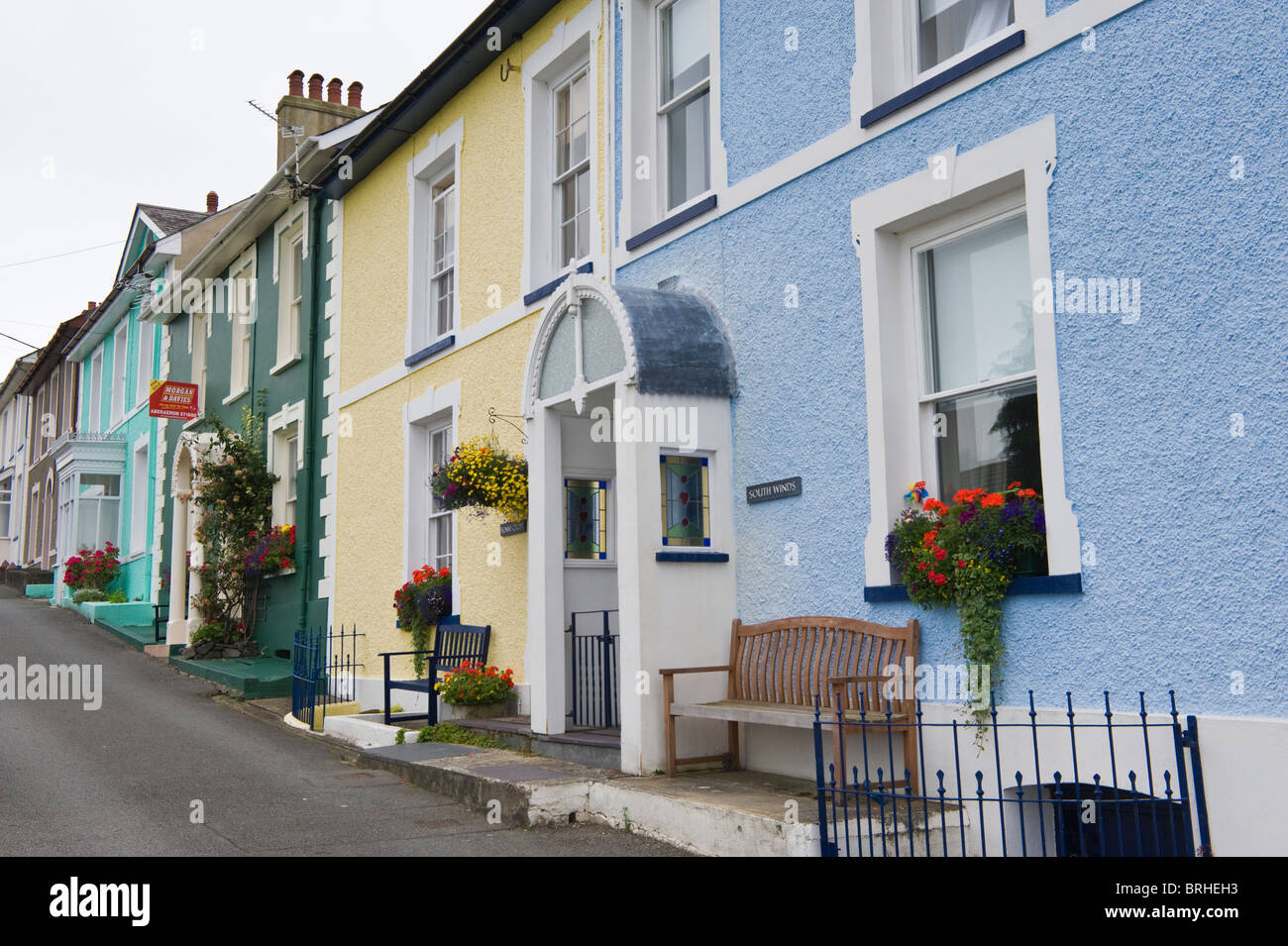 House for sale in terrace of houses in the coastal town of New Quay Ceredigion West Wales UK - Stock Image
