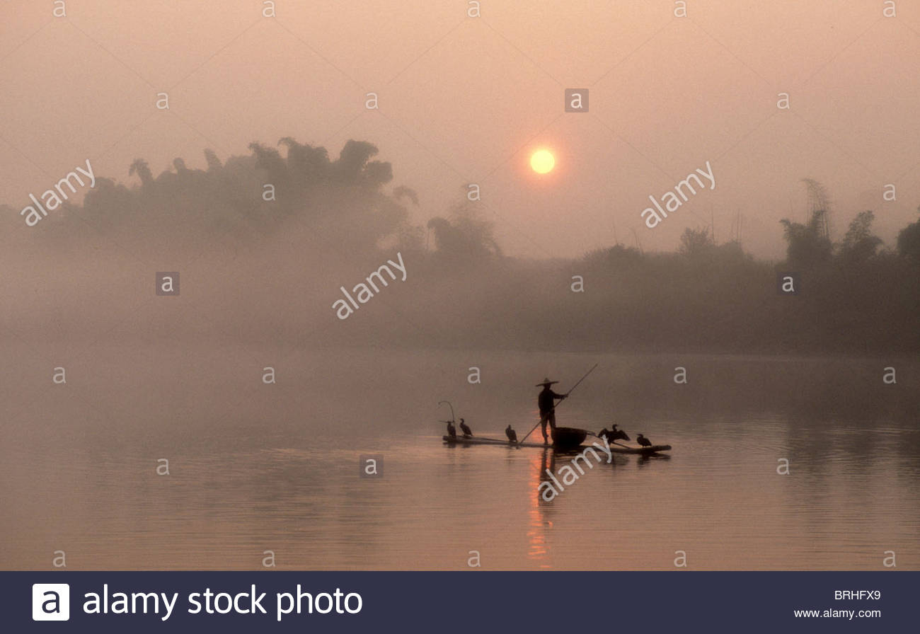 An early morning scene of a Cormorant Fisher at work on the river. - Stock Image