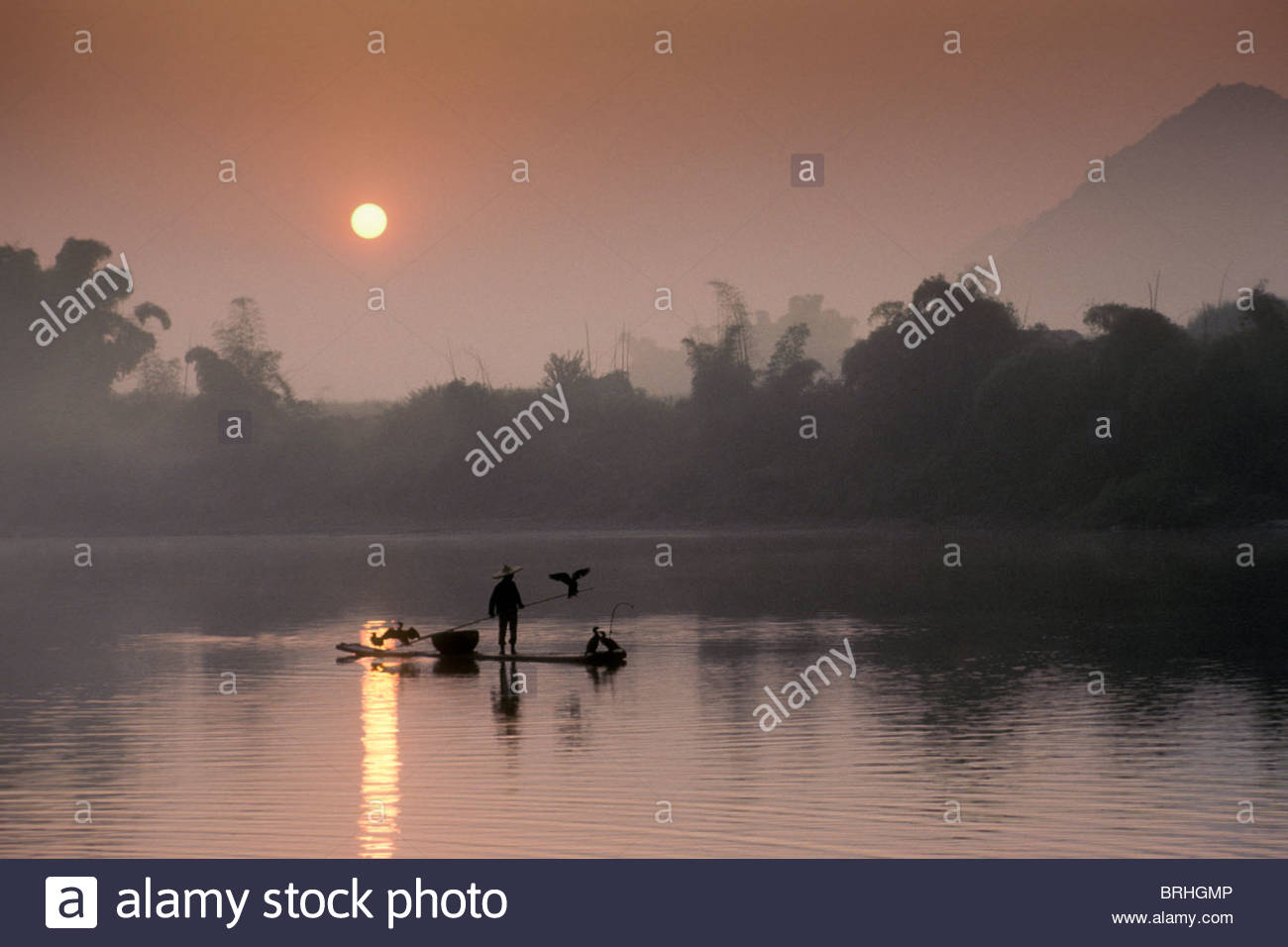 A cormorant fisher works the Li River in southern China at dawn. - Stock Image