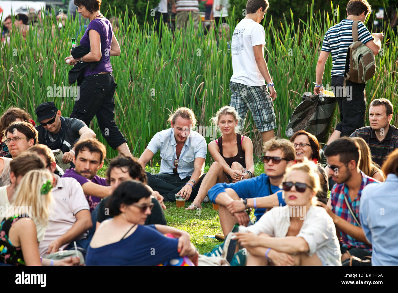 Young people during rock festival, Katowice, Poland - Stock Image