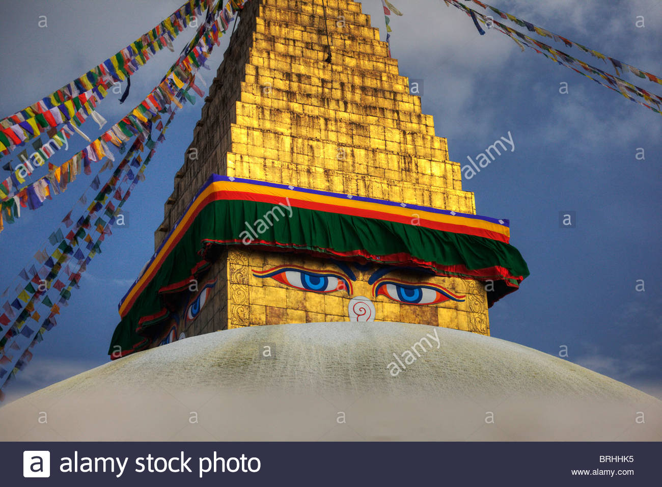 Eyes of Buddha, on four cardinal points, keep watch over Kathmandu. - Stock Image