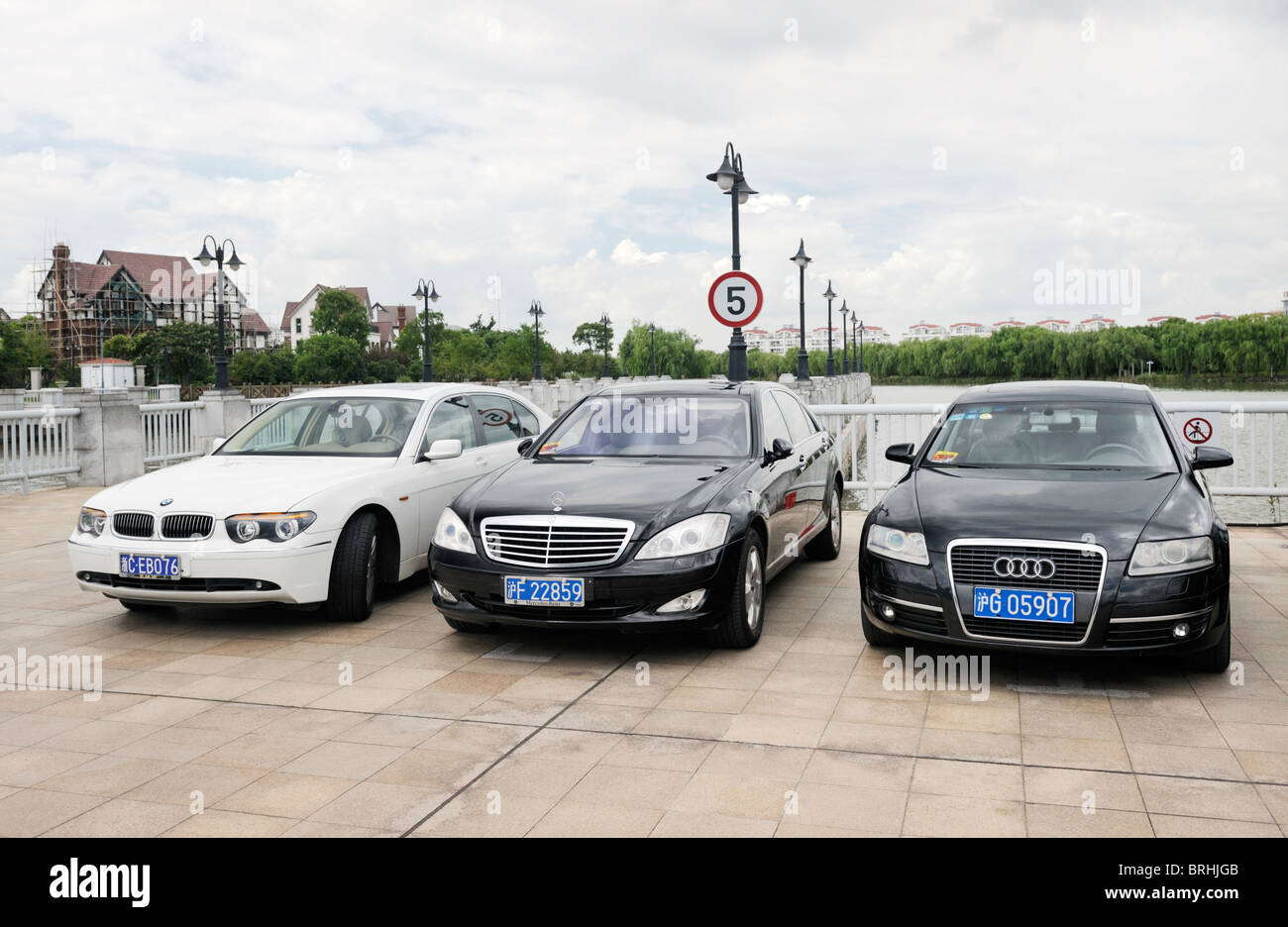 Songjiang, Shanghai, China. Luxury German import cars seen in Thames Town, one of the new town developments in Songjiang - Stock Image
