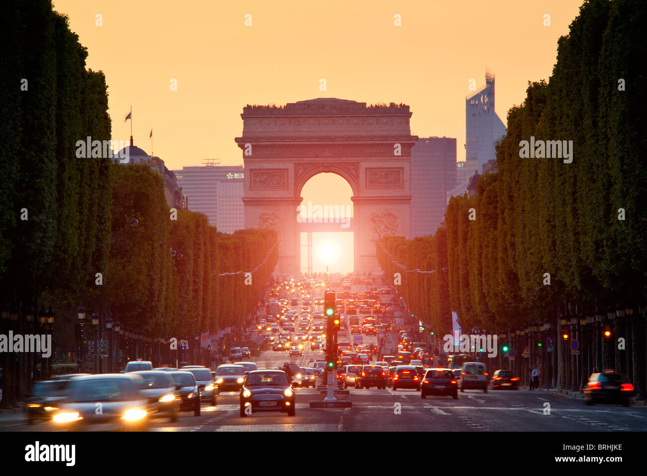 Paris, Champs-Elysees at Sunset - Stock Image