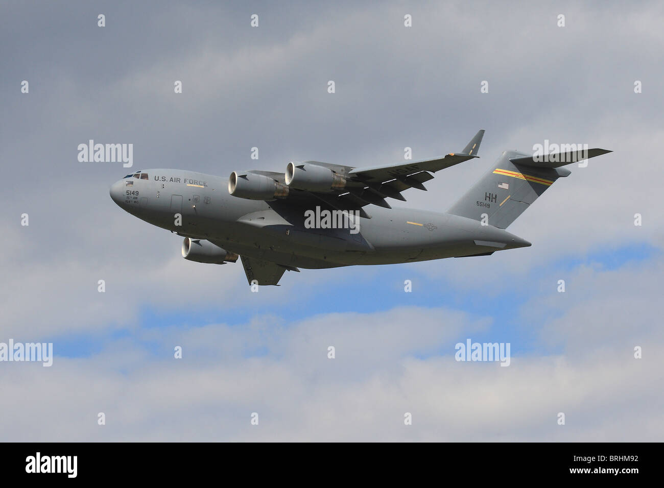 C17 C17A Globemaster USAF Air Force leaving RAF Mildenhall Suffolk HH 5149 Hickman AFB Transporter Heavy Lift Military - Stock Image