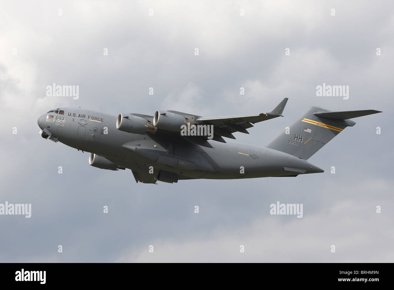 C17A Globemaster leaving RAF Mildenahll Suffolk - Stock Image