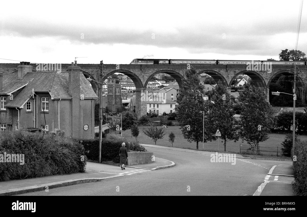 Train crossing Truro Viaduct, Truro, Cornwall, England, UK 1985 - Stock Image