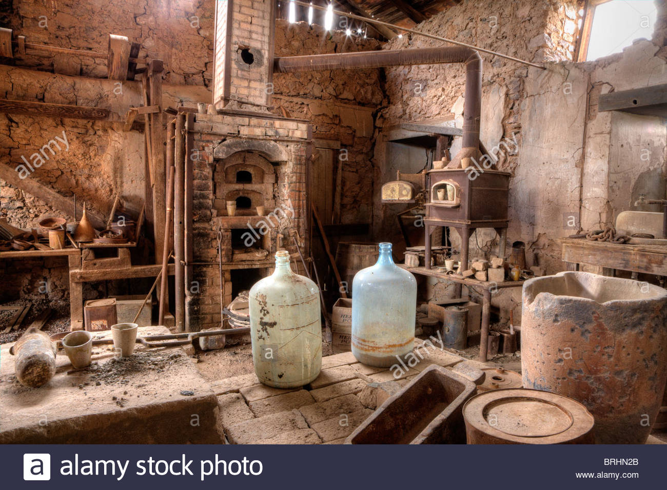 A well-preserved assay office in a ghost gold mining town. - Stock Image