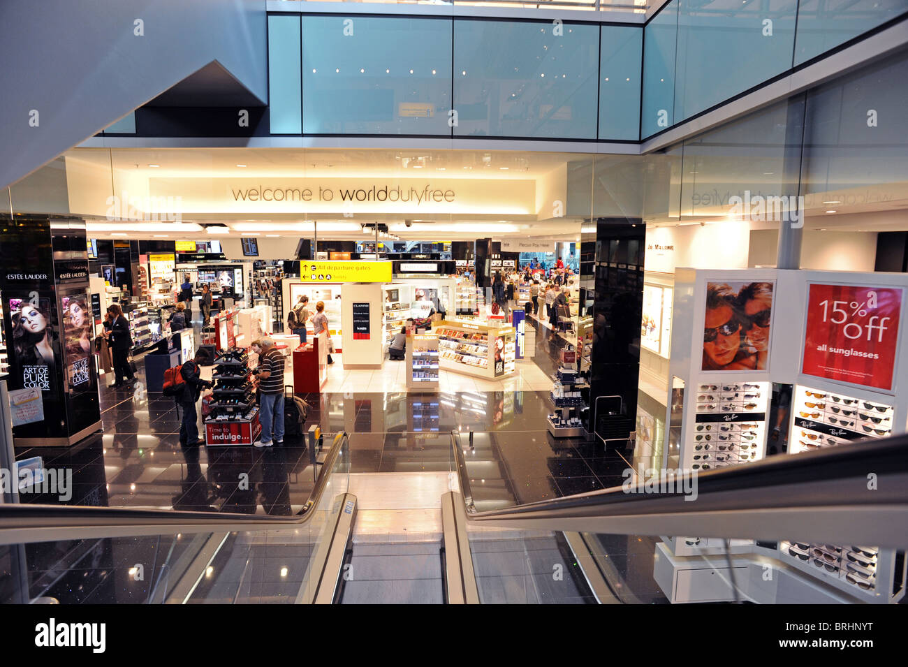 Duty free shopping at Heathrow Terminal 5 - Stock Image