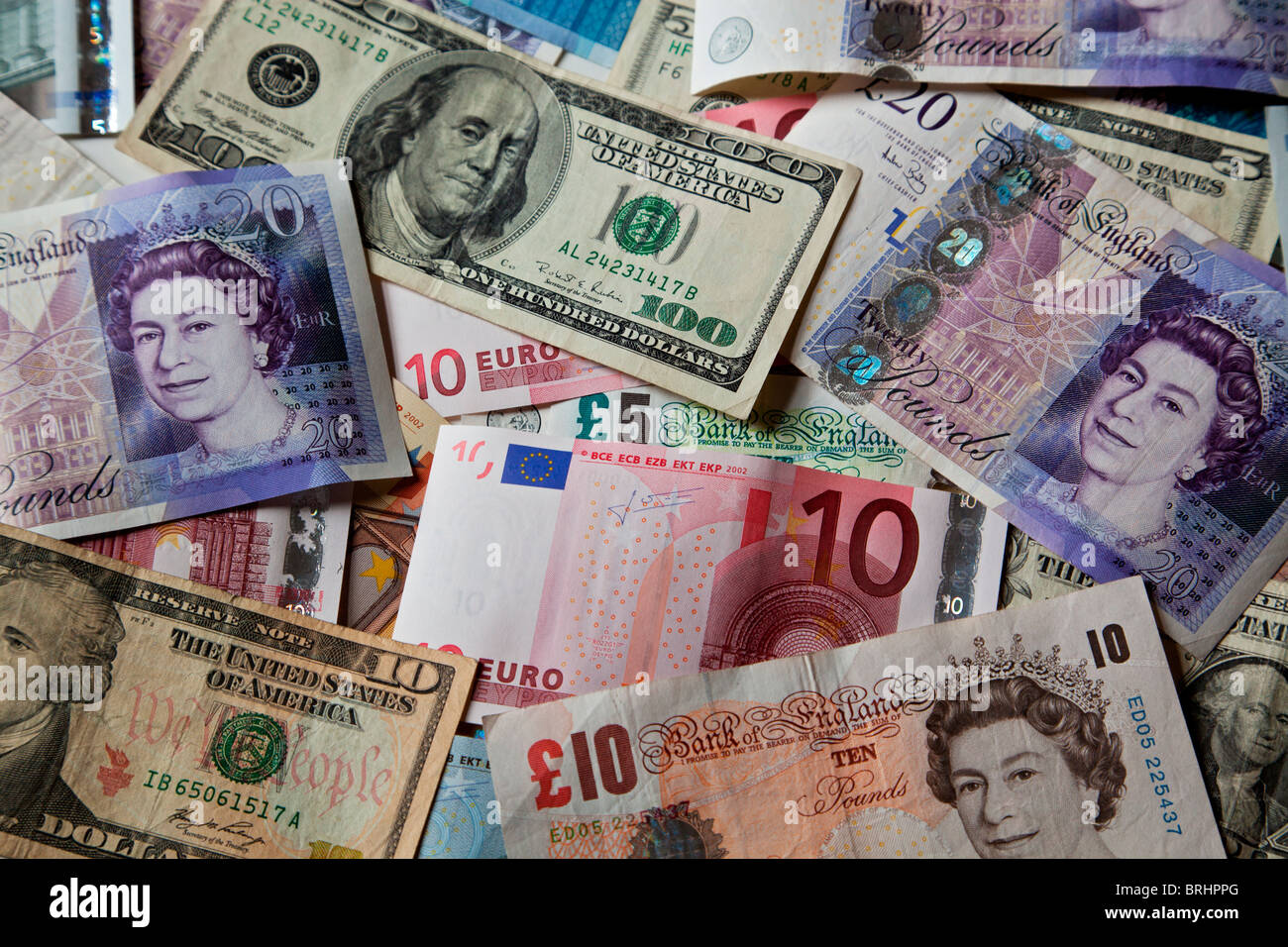 Sterling, dollar and euro bank notes - Stock Image