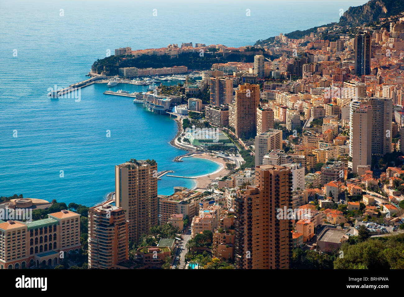 CITY SKYLINE AND HARBOUR, AERIAL VIEW OF MONACO - Stock Image