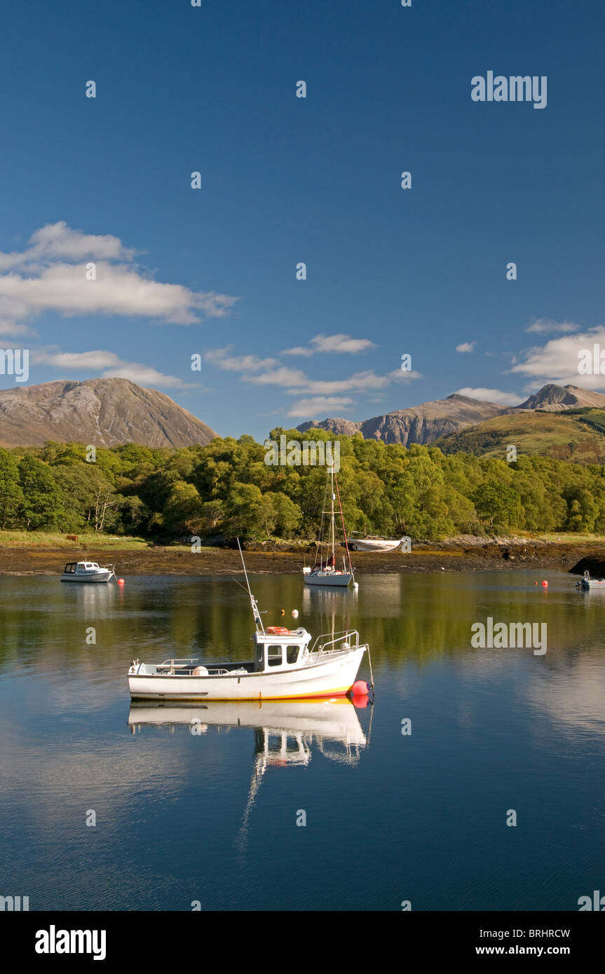The sheltered boat and Yacht moorings at Bishop's Bay, Loch Leven, Ballachulish, Highland Region. Scotland. - Stock Image