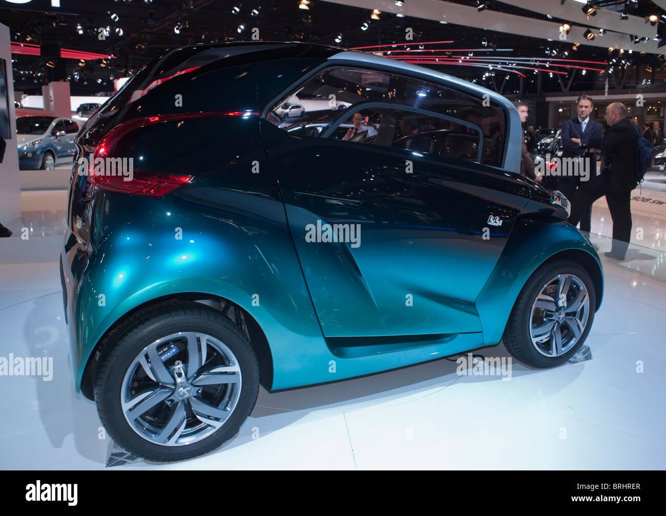 Paris, France, Paris Car Show, Peugeot Electric, Concept car, BBI, Sedan - Stock Image