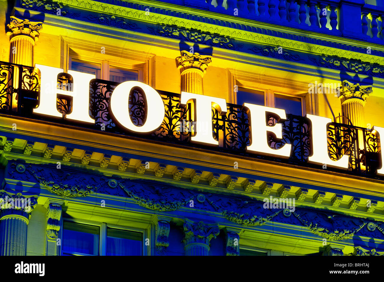 France, Paris, Hotel Sign Stock Photo
