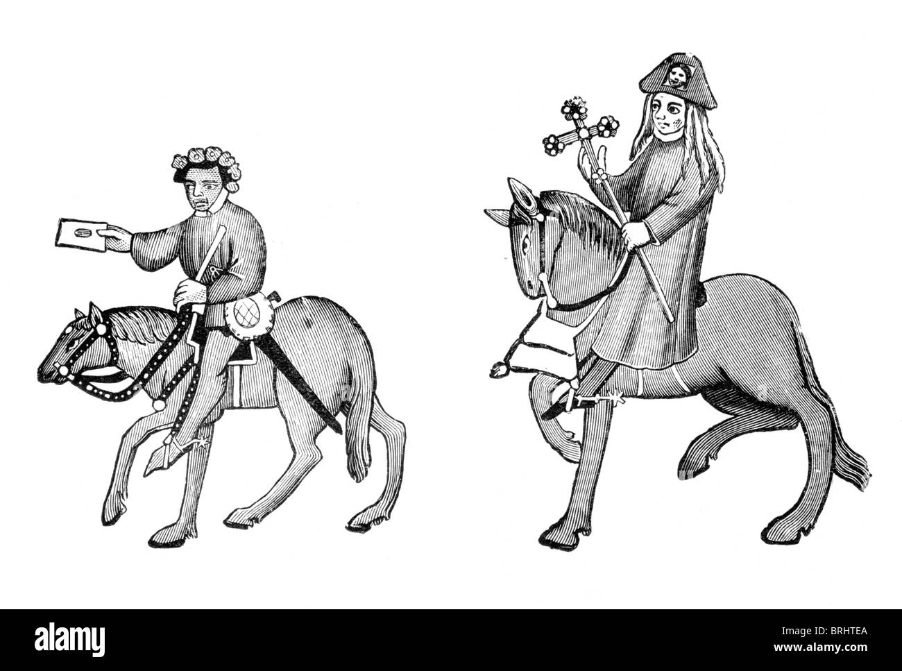 Black and White Illustration; The Summoner and the Pardoner, from the Ellesmere Manuscript of the Canterbury Tales, Stock Photo