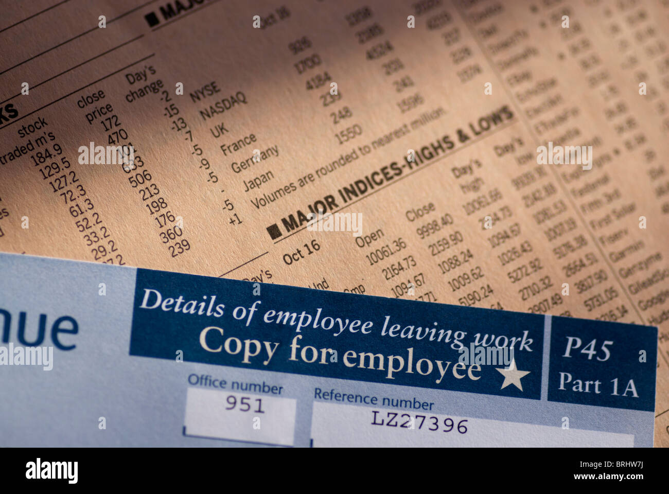 P45 redundancy notice - Stock Image