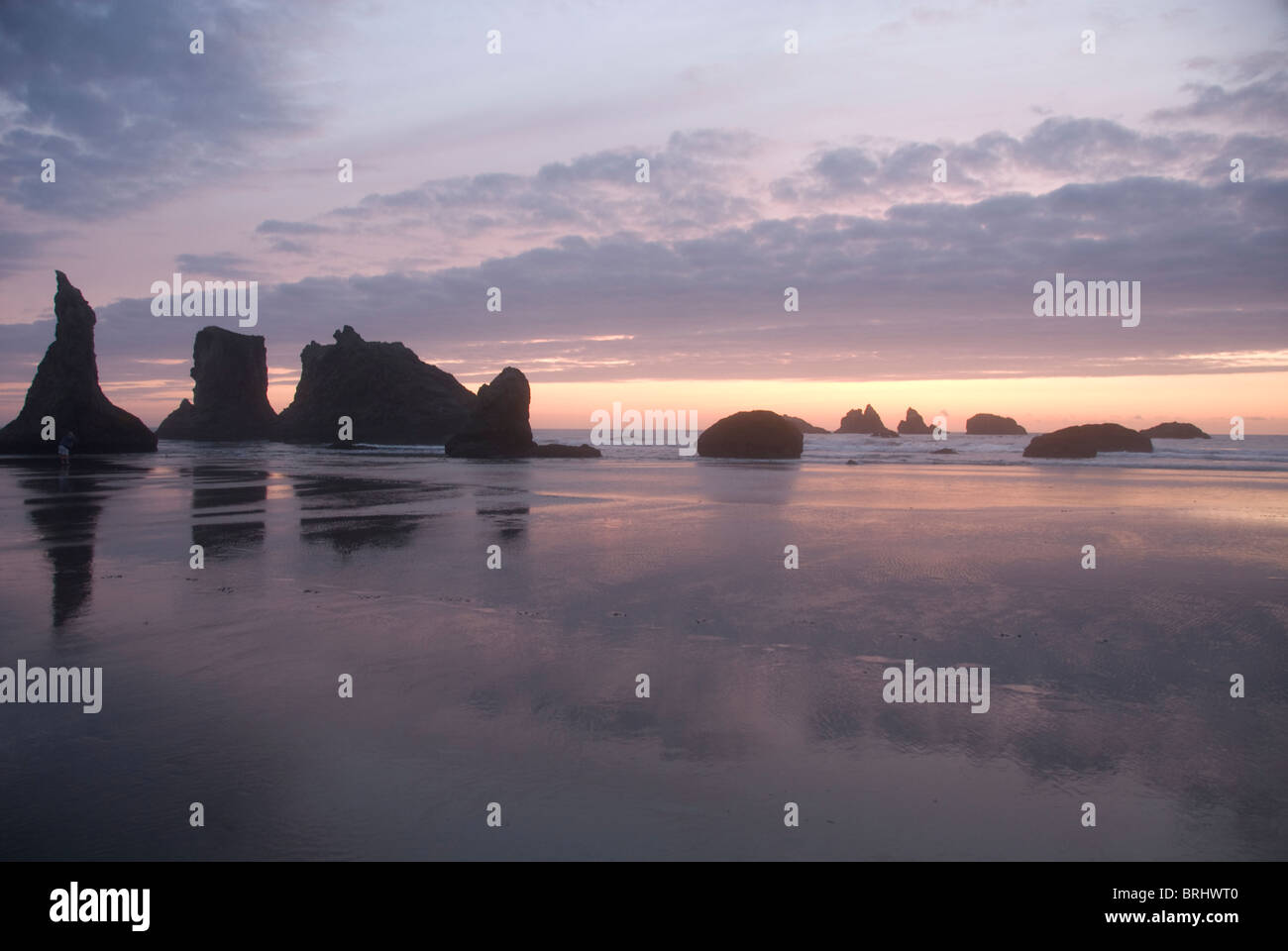 Sea stacks in the Pacific Ocean at Bandon State Park Bandon Oregon - Stock Image
