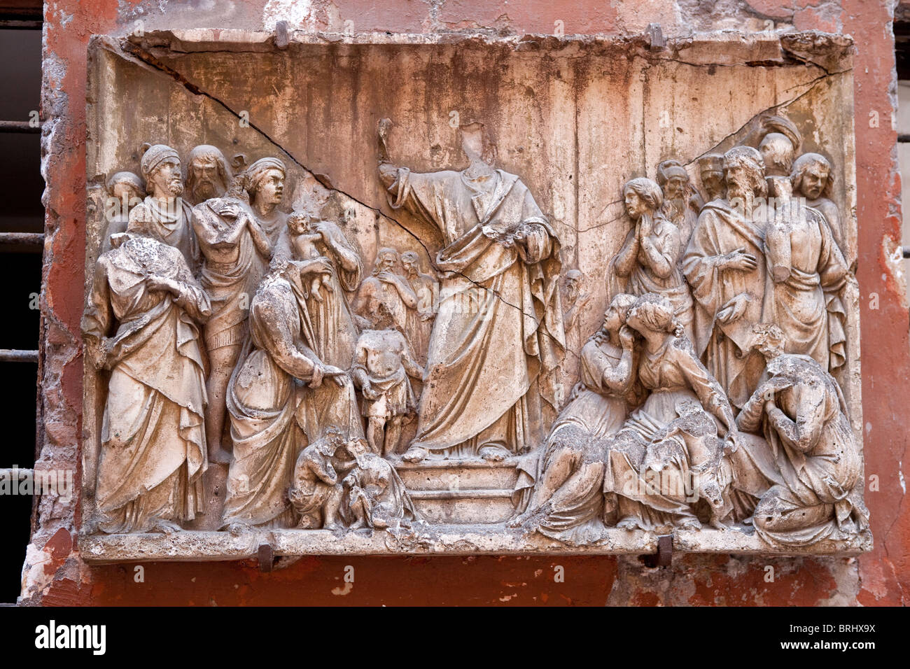 bas-relief ancient historical art Rome Italy godly Stock Photo