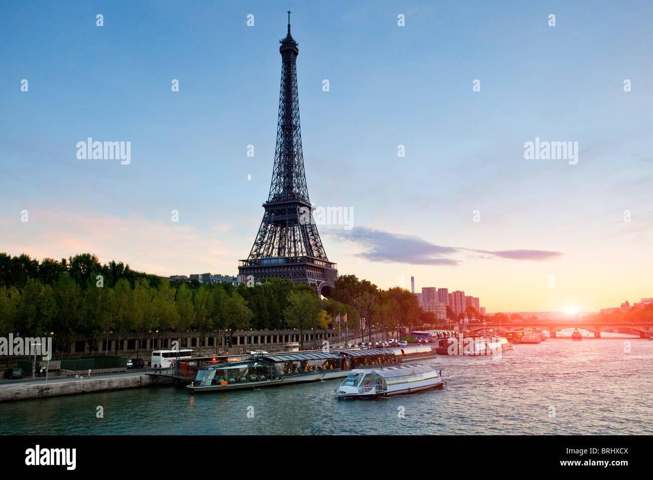 Paris, Seine River and Tour Eiffel at Sunset - Stock Image