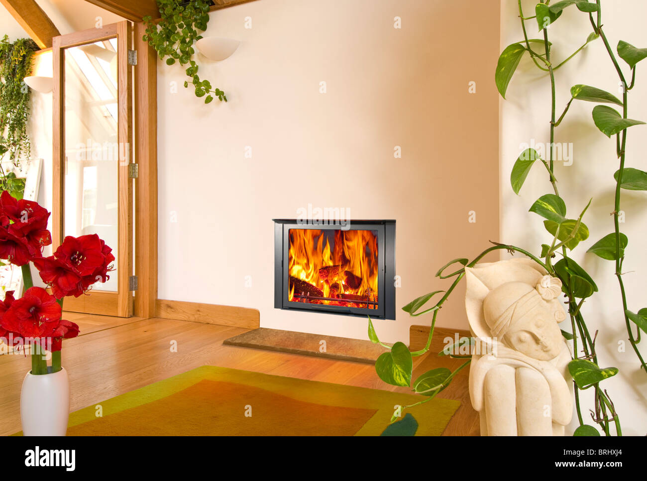 An Aquatherm F21B insert wood burning stove in a modern interior - Stock Image