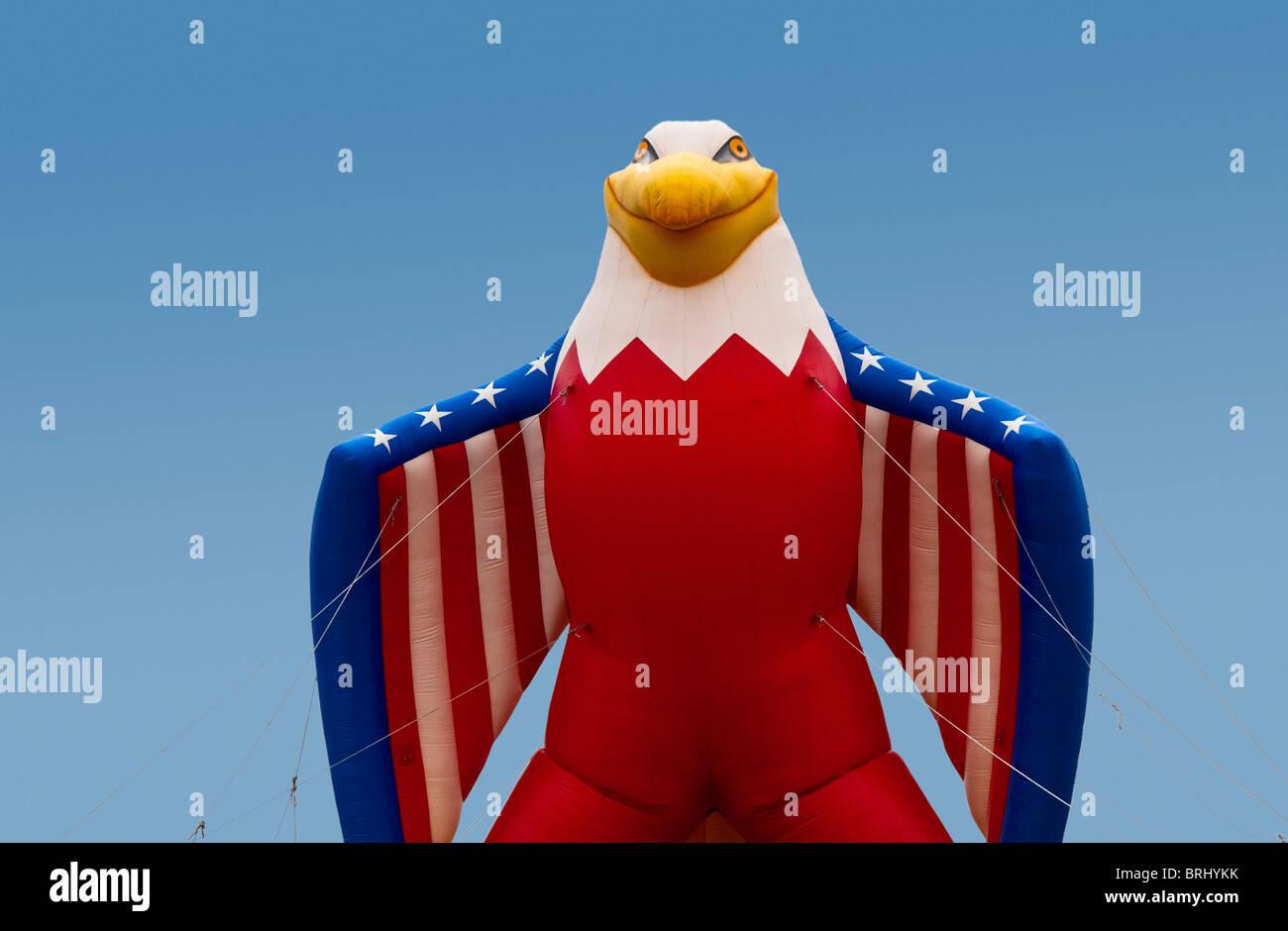 Giant inflatable helium Bald Eagle balloon on display, USA - Stock Image