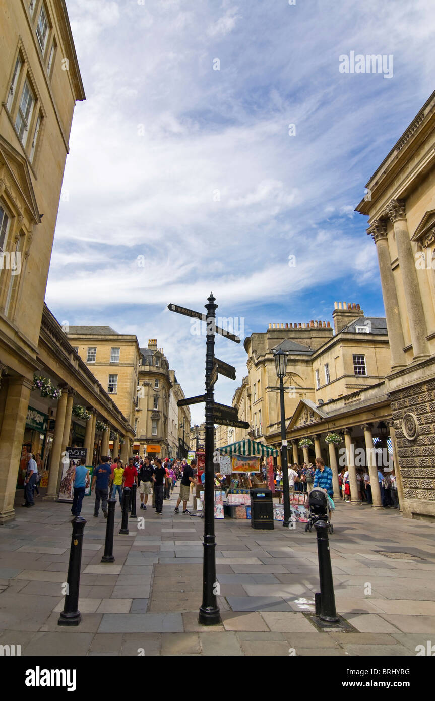 Vertical wide angle of tourists on a bustling Stall Street in Bath ...
