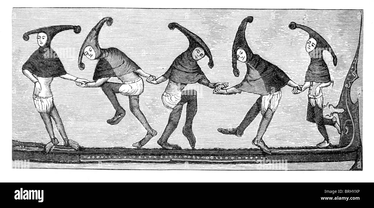 Black and White Illustration; 14th Century Morris Dance, from the manuscript in the Bodleian Library, MS Bod Misc - Stock Image