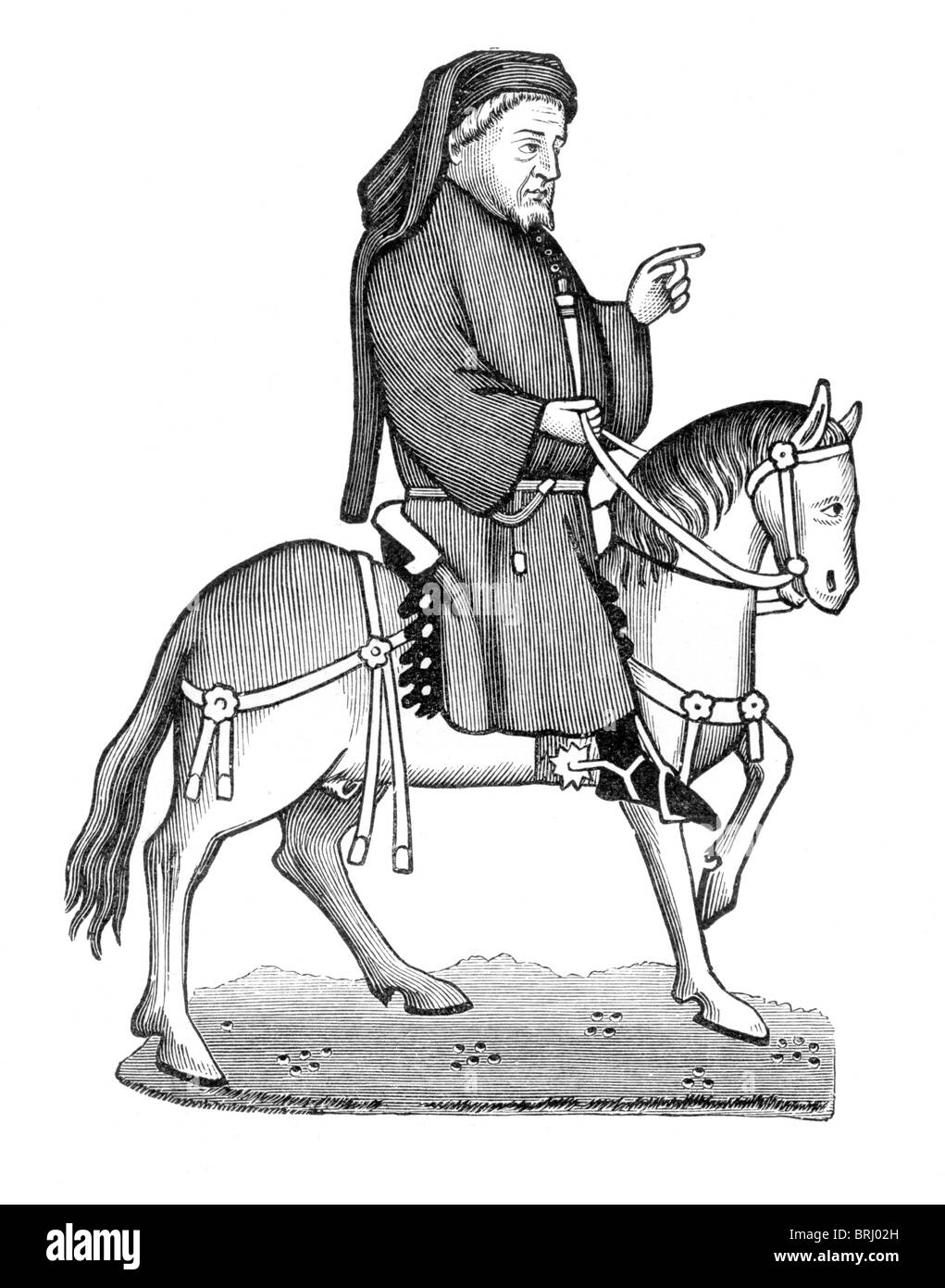 Black and White Illustration; Geoffrey Chaucer on Horseback, from the Ellesmere Manuscript of Canterbury Tales - Stock Image