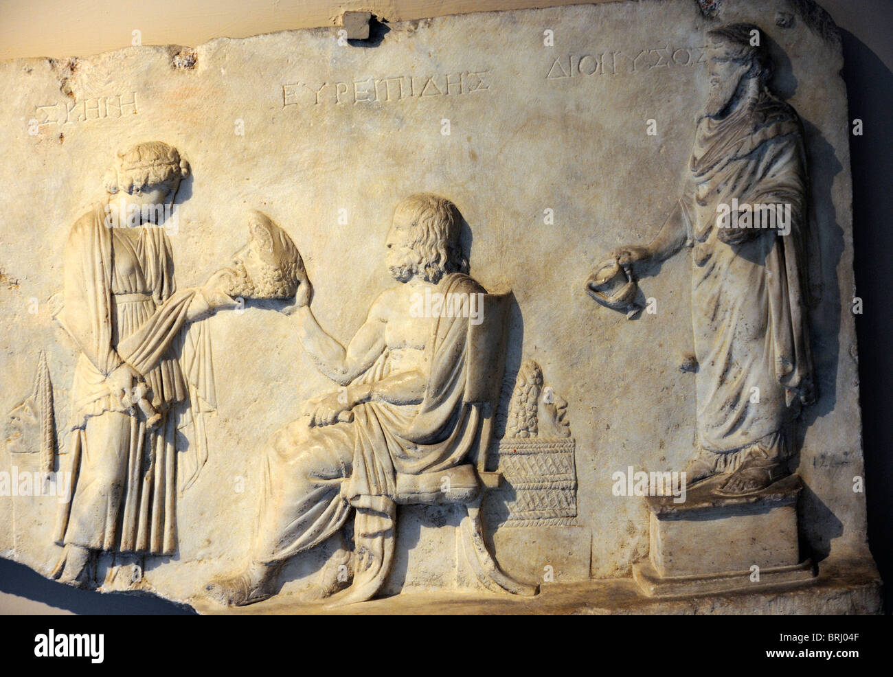Relief for the honour of the tragedy writer Euripides from Smyrna late 1st Century BC - 1st Century AD - Stock Image