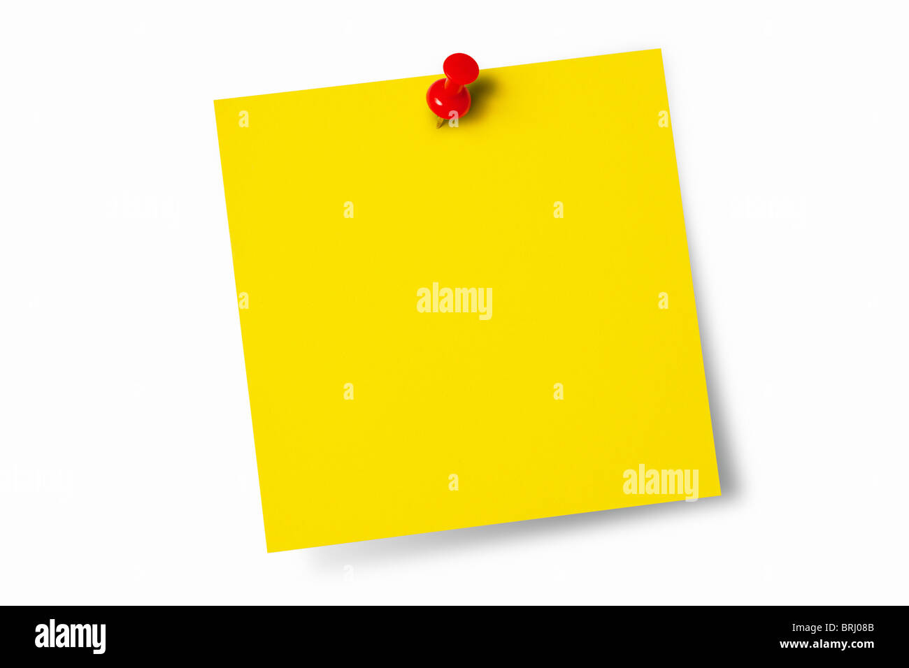 Yellow Post-it with Push Pin - Stock Image