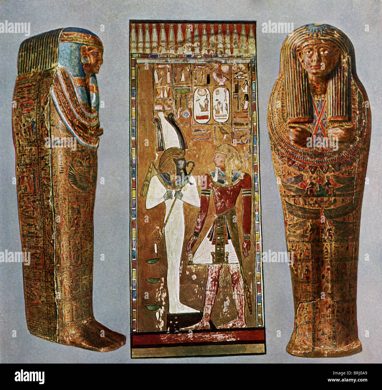 Sarcophagus of 19th Dyn woman from Thebes,  19th Dyn Pharaoh Seti I before Osiris,  the sarcophagus of a priest - Stock Image