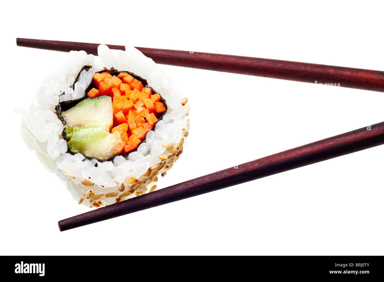 Vegetarian sushi California roll with rice and seaweed isolated on white background - Stock Image