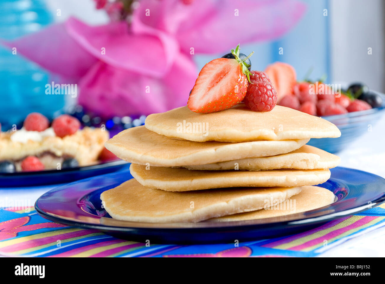 Pancakes with berry fruits - Stock Image
