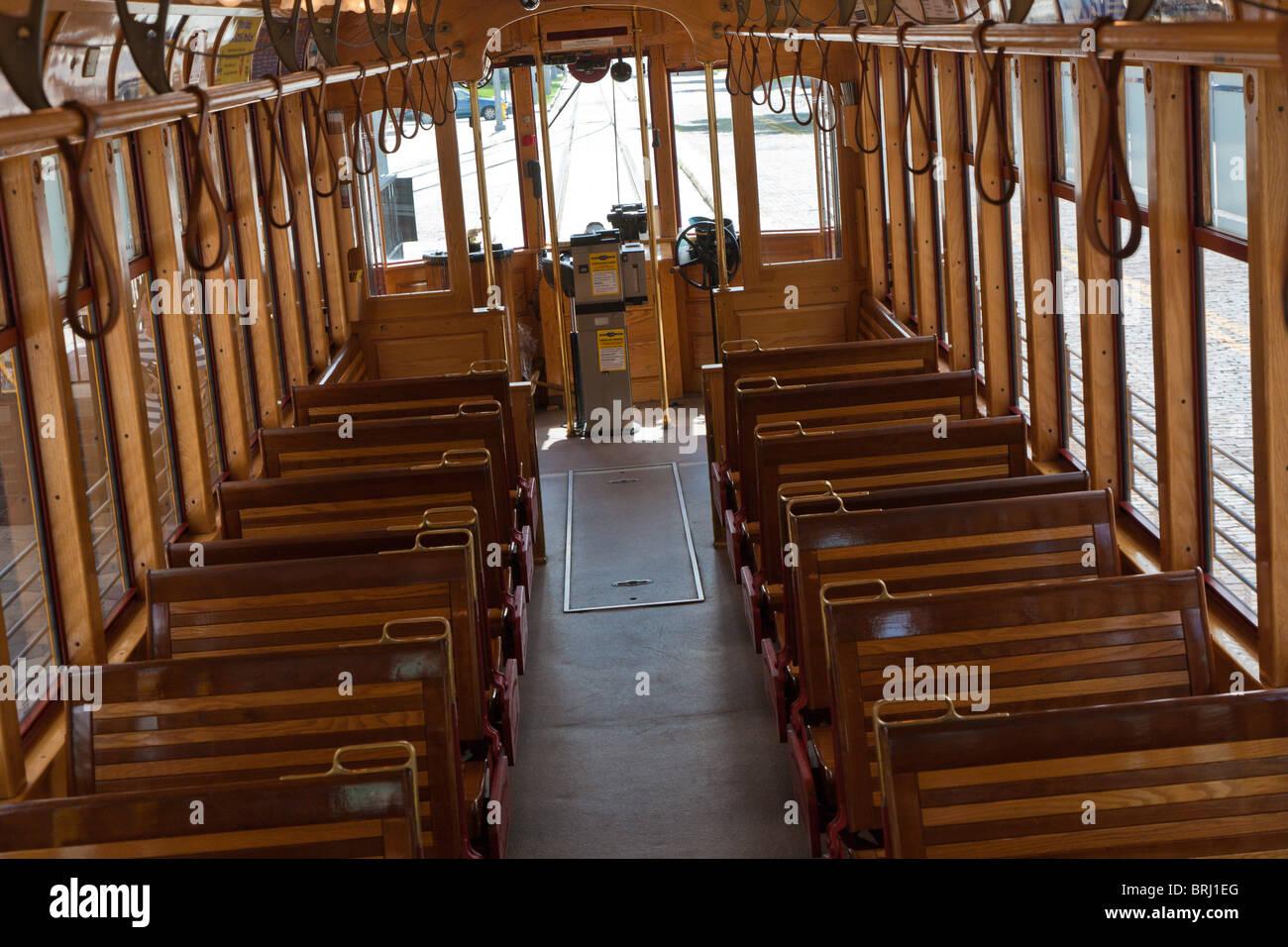 Ybor City, FL - July 2009 - Interior of a TECO Line streetcar in Ybor City area of Tampa, Florida - Stock Image