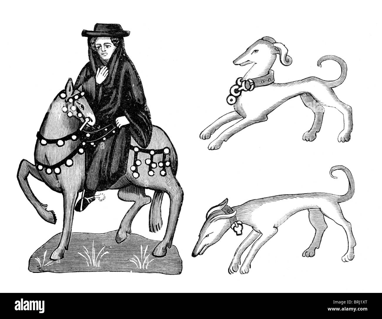 Black and White Illustration; Medieval Monk and his Dogs Stock Photo