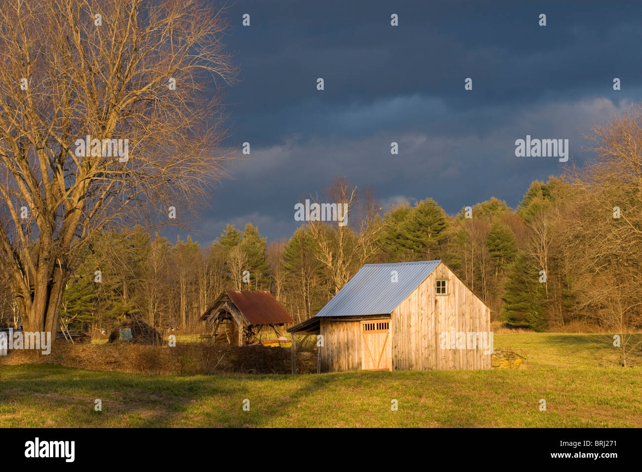 Old weathered barn in field with dark stormy sky - Stock Image