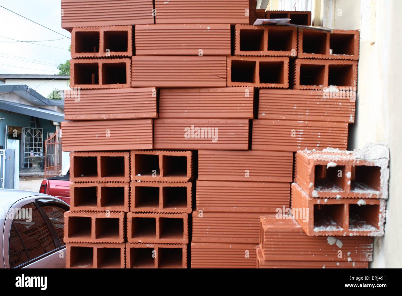 Red Bricks Building material - Stock Image