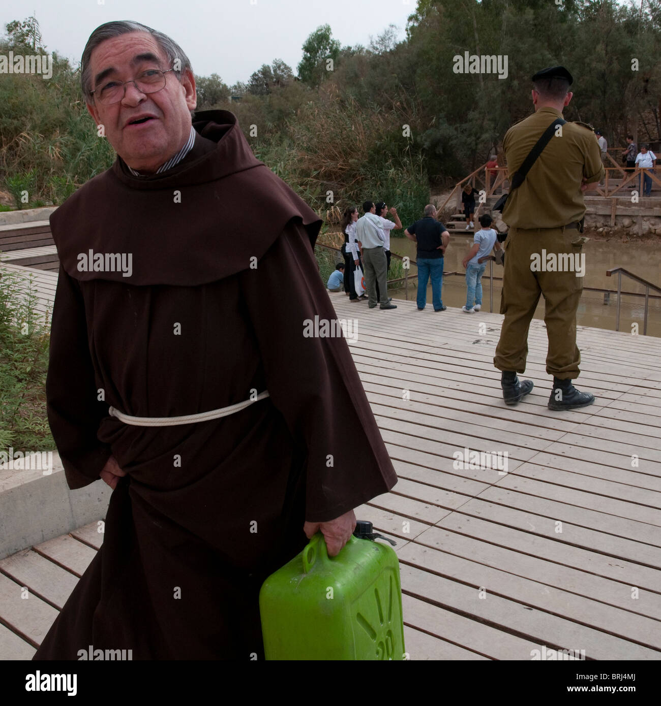 yearly catholic procession to the Jordan River. Jericho Stock Photo