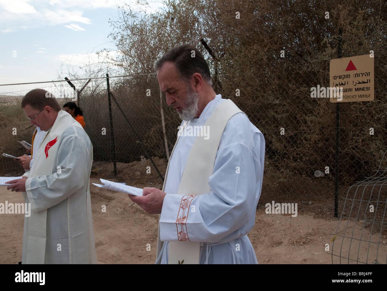 yearly catholic procession to the Jordan River. Jericho Stock Photo