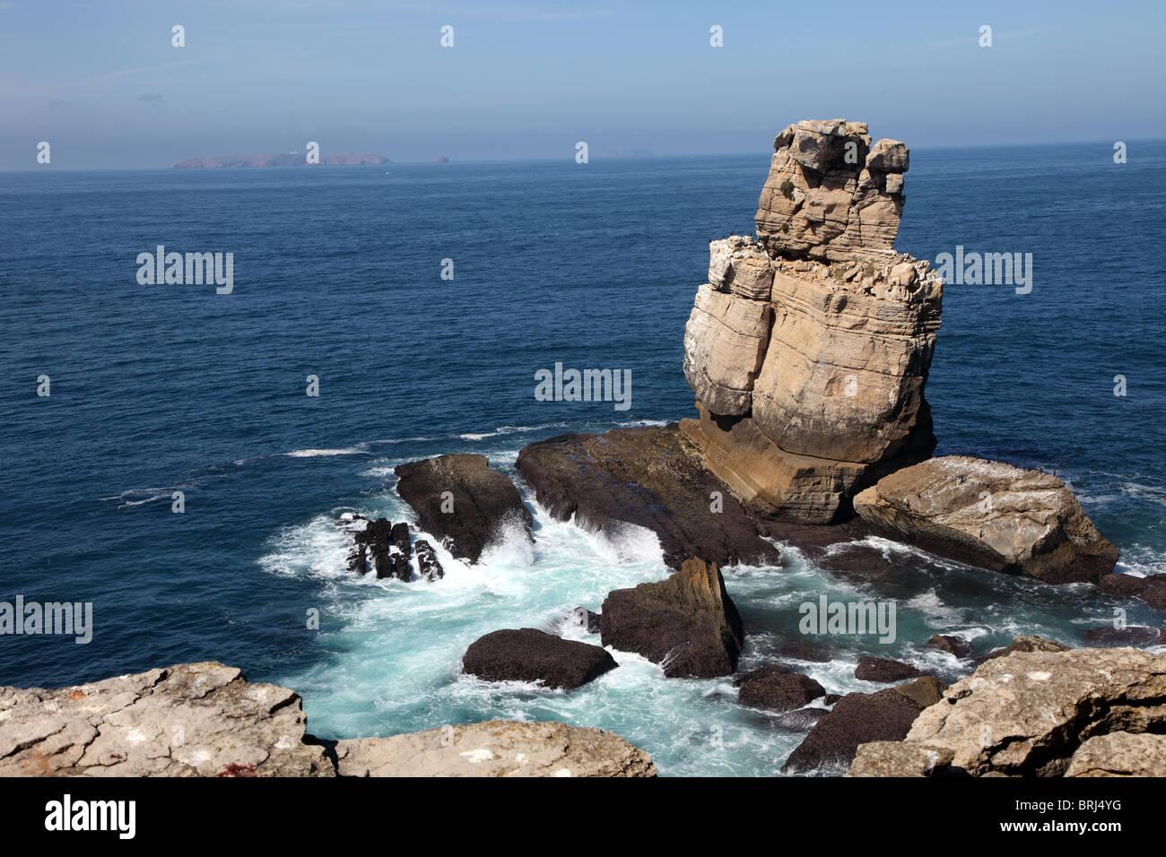 Cormorant Rock, Peniche, Portugal - Stock Image