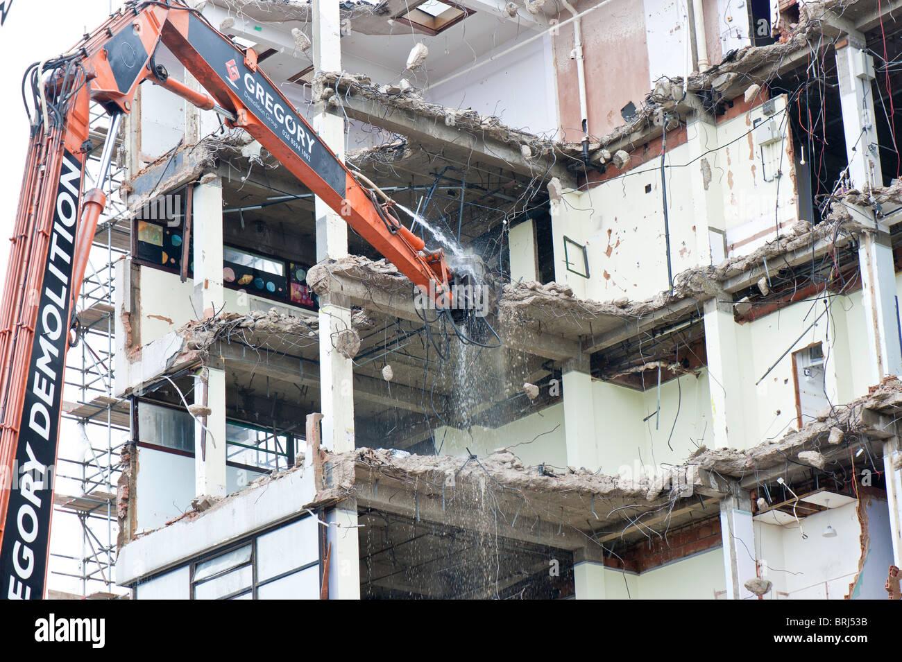 Building being demolished in Islington, N1, London, United Kingdom - Stock Image