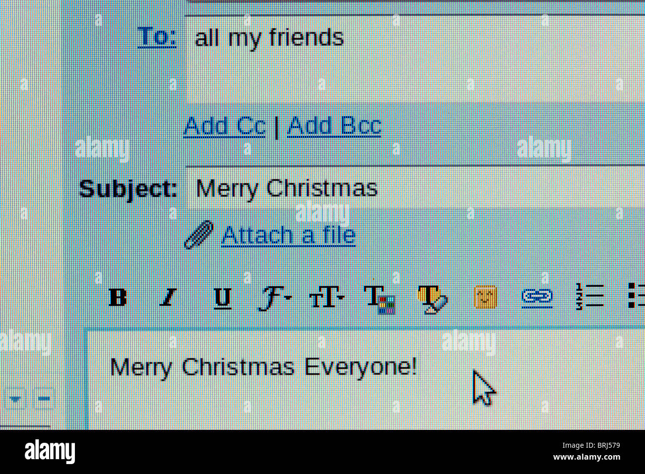 screen shot of an email to friends wishing them a merry christmas - Stock Image