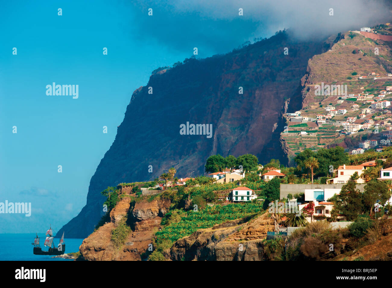 Cabo Girao,Madeira,'Nau Santa Maria' Christopher Columbus replica ship, tourist boat - Stock Image