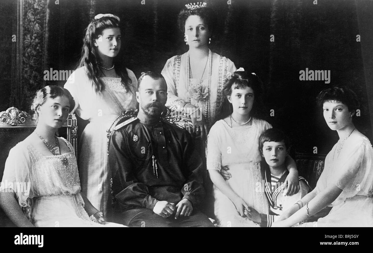 Portrait photo c1914 of Tsar Nicholas II of Russia and his family - all murdered in July 1918 following the Russian - Stock Image