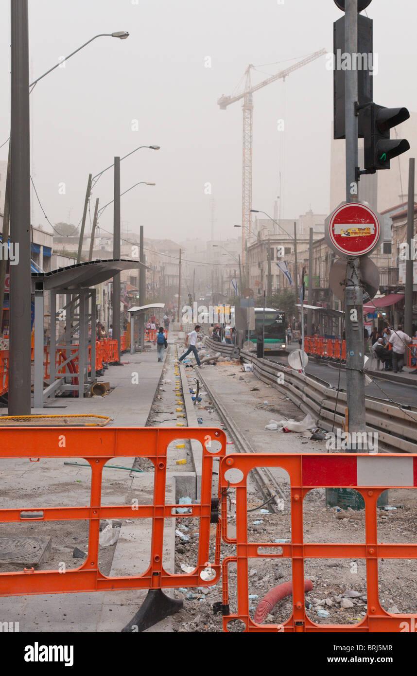 Jerusalem. Jaffa road. Light Train construction site - Stock Image