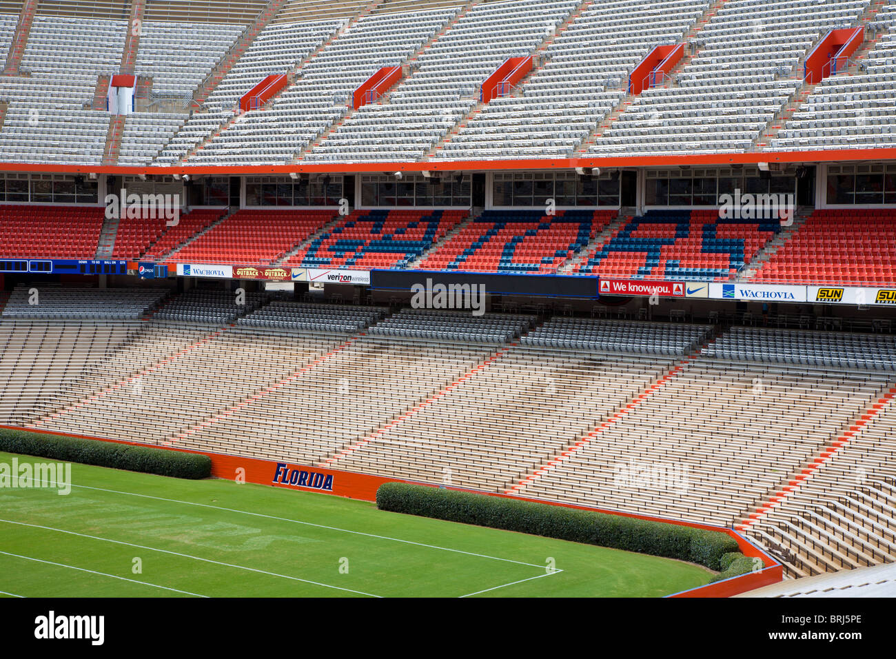 Interior of Ben Hill Griffin stadium commonly known as 'The Swamp' Home of the University of Florida Gators - Stock Image