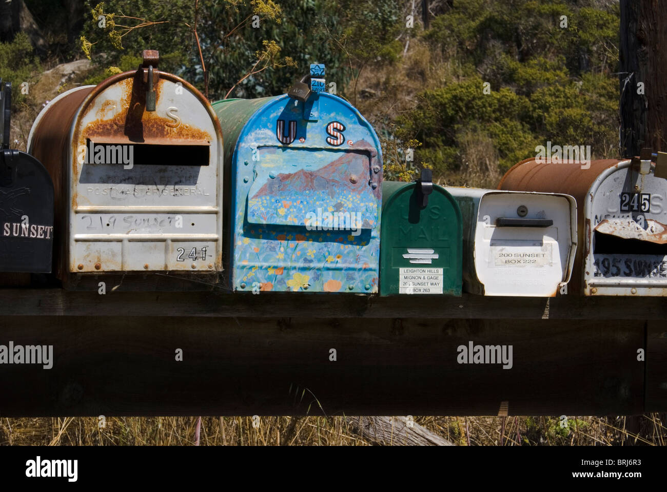 Mailboxes, Muir Beach, California, USA - Stock Image