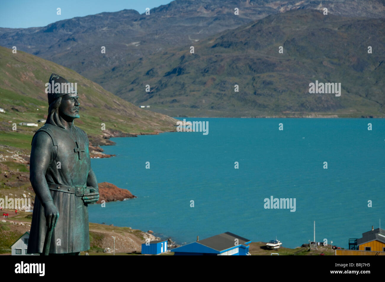 Greenland, Brattahlid (aka Qassiarsuk). Overview of settlement started by Erik the Red. Statue of famous Norse explorer. - Stock Image
